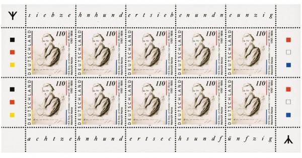 BRD MiNr. 1962 I ** 200. Geb. H. Heine, Kleinbogen mit Rune