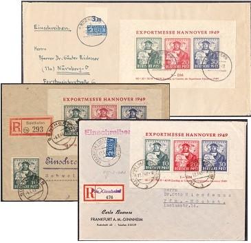 Bizone Brief Bl.1a MiNr.103/05 o Exportmesse Hannover 1949