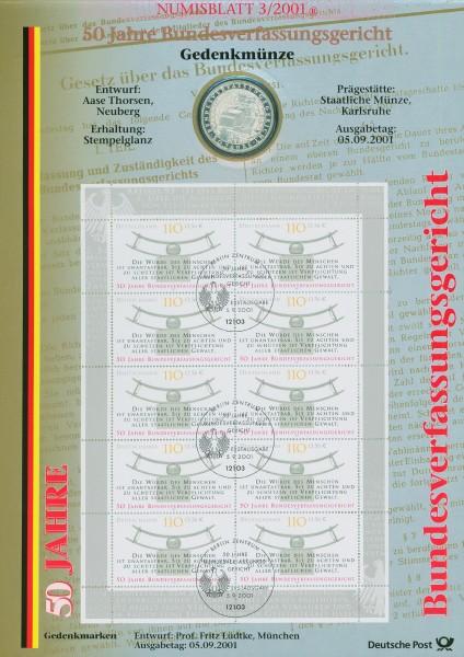 BRD Numisblatt 3/2001 50 Jahre Bundesverfassungsgericht
