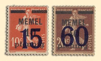 Memelgebiet MiNr. 34/35 ** Freimarken Frankreich mit Aufdruck