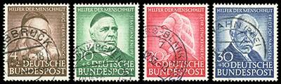 BRD MiNr. 173/76 o Helfer der Menschheit (IV) 1953
