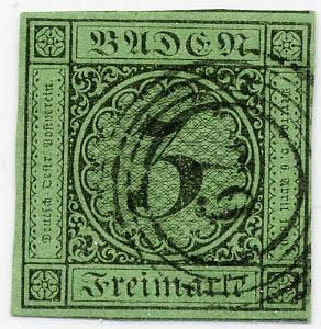 Baden MiNr. 6 o 3 Kreuzer / grün / Ziffer im Kreis