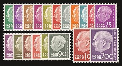 Saarland (OPD) MiNr. 380/99 ** Bundespräsident Heuss (ohne Währungsang.