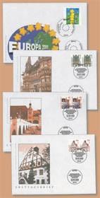 BRD Die ersten 4 EURO-Briefmarken auf FDC Mi-Nr. 2113, 2139, 2140 und 2141