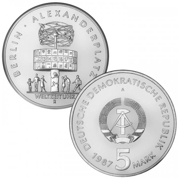 DDR Münze 1987, 5 M, PP 750 Jahre Berlin Weltzeituhr