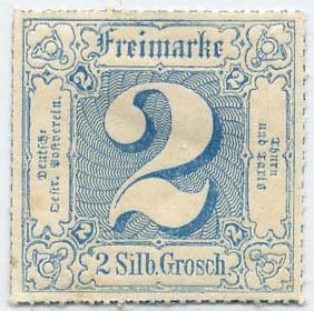 Thurn & Taxis MiNr. 49 * 2 Gr., blau durchstochen