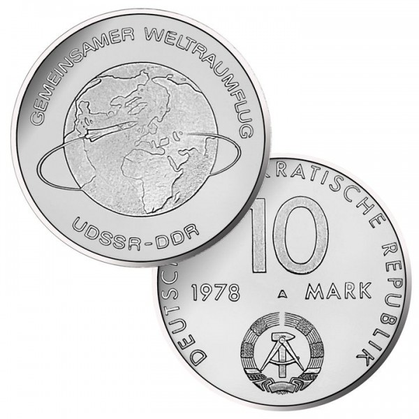 DDR Münze 1978, 10 M, st Gemeinsamer Weltraumflug SU/DDR