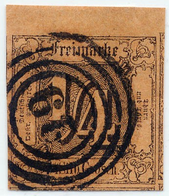 Thurn & Taxis MiNr. 1 o 1/4 Gr., schw. auf dunkelorange, geschnitten