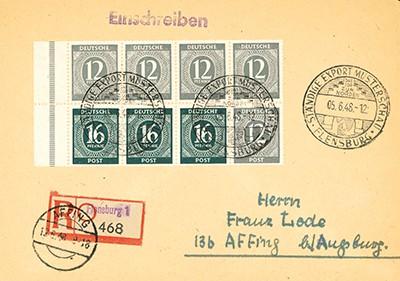 All.Bes.GA Ziffernserie 1946 Heftchenblatt 123 auf Brief