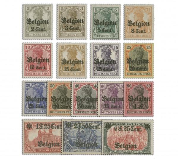Dt. Besetzung Belgien MiNr. 10/25 ** Germania m. Aufdruck, 16 Werte