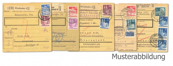 "Bizone 5 Paketkarten ""Bautenserie"" verschiedene Frankaturen"