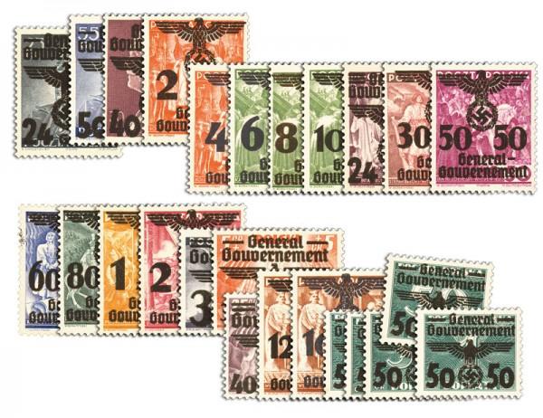 Generalgouvernement MiNr. 14/39 ** Polen m.Aufdr. General-Gouv. (26 Werte)