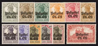 Dt. Besetzung Oberbefehlshaber Ost MiNr. 1/12 ** Germania m.Aufdruck