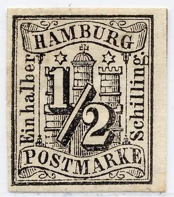 Hamburg MiNr. 1 (*) 1/2 Schilling / schwarz