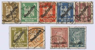 Dt. Reich Dienst MiNr. 105/13 o Dienstmarken, FM 355-63 mit Aufdruck