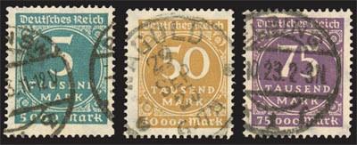 """Dt. Reich MiNr. 274/76 o gepr. FM: """"Ziffern im Kreis"""""""
