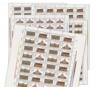 DDR Bogenkollektion MiNr. 3067/70 ** Hist. Postgebäude, 5 Bogen inkl. Sammelblatt