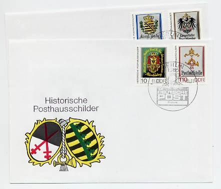 DDR FDC MiNr. 3302/05 Histor. Posthausschilder