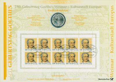 BRD Numisblatt 3/1999 250 Geburtstag Goethes