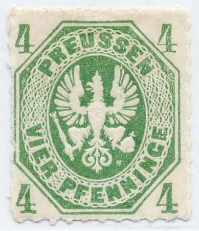 Preußen MiNr. 14a * 4 Pf smaragdgrün