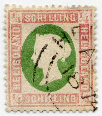 Helgoland MiNr. 8b o 1/4 S lilarosa/graugrün