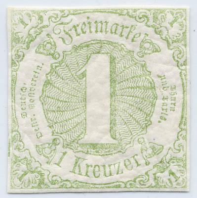 Thurn & Taxis MiNr. 20 ** 1 Kr., bläulichgrün, geschnitten