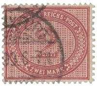 Dt. Reich MiNr. 37e o Innendienst-Marke Ziffer im Oval