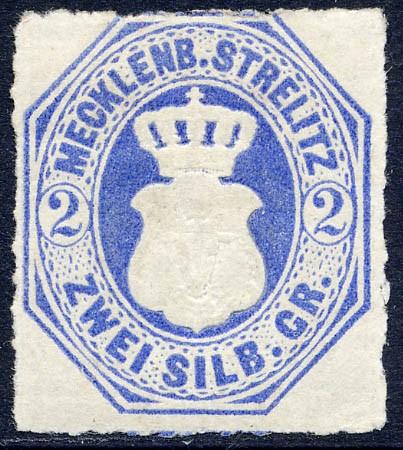 Mecklenb.-Strelitz MiNr. 5 * 2 Silbergroschen / grauultramarin