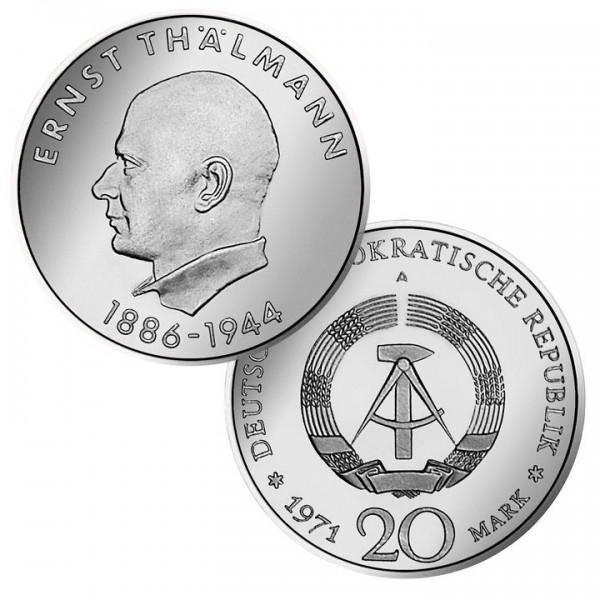 DDR Münze 1971, 20 M, vz 85. Geburtstag Ernst Thälmann