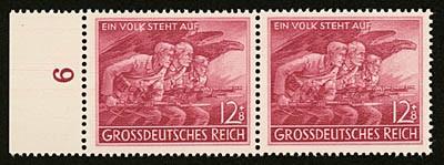 """Dt. Reich MiNr. 908 II ** """"Der Volkssturm"""" - PF II Punkt unter""""K"""" von """"Volk"""" m.Vergleichsstück"""