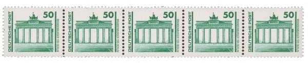 DDR MiNr. 3346 R ** (50 Pf.) 5er-Streifen Freimarken: Bauwerke u.Denkmäler