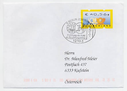 """BRD ATM Echt gelaufener FDC mit 0,56 € ATM Sonderst.01.01.2002 """"Einführung d. Euro"""""""