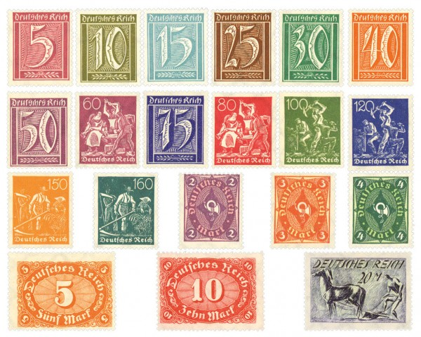 Dt. Reich MiNr. 177/96 ** Wz. Waffeln FM: Ziffern, Arbeiter, Posthorn, 20 Werte