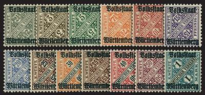Württemberg Dienstmarken MiNr. 258/70 ** Wertziffern in Schildern mit Aufdruck