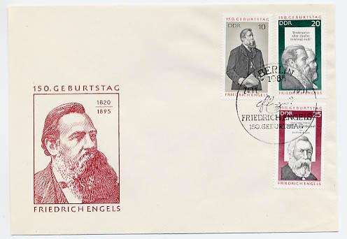 DDR FDC MiNr. 1622/24 150. Geb. Engels