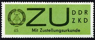 DDR Dienstmarken E MiNr. 2x ** Sendungen mit Zustellurkunde (gew. Papier)