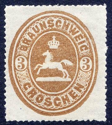 Braunschweig MiNr. 20 * 3 Groschen / orangebraun