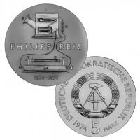 DDR Münze 1974, 5 M, st 100. Todestag Philipp Reis