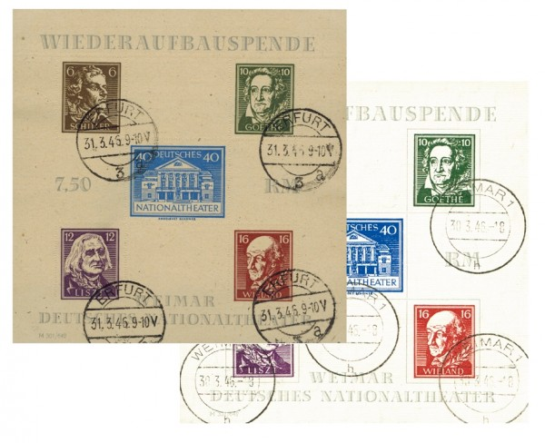 SBZ Thür. Bl. 3 A/B o Blockpaar Nationaltheater Weimar