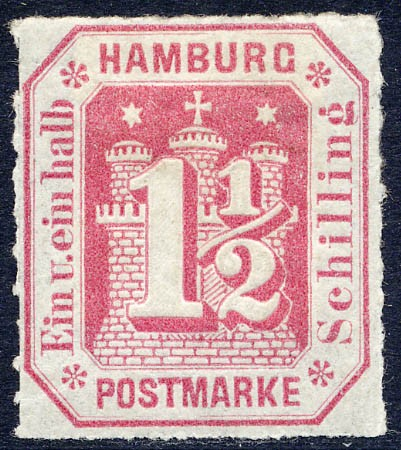 Hamburg MiNr. 21 * 1 1/2 Schilling / karmin / durchstochen