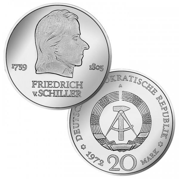 DDR Münze 1972, 20 M, vz Friedrich von Schiller