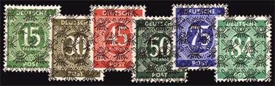 Bizone MiNr. 58II,63II,65II,66II,67II und 68II ** 6 Netzaufdruck-Marken