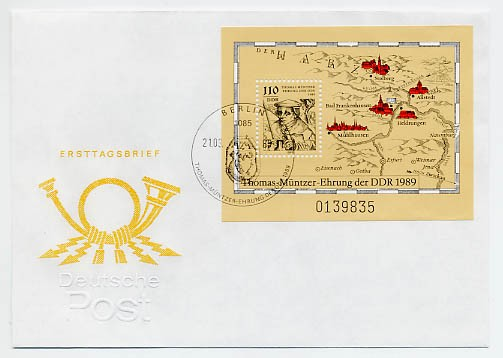 DDR FDC MiNr. 3237 Block 97 Th. -Müntzer-Ehrung