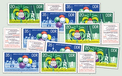 DDR Zdr.-Kombinat. MiNr. 2345/46 ** Weltfestspiele (WZd 376 - 381)