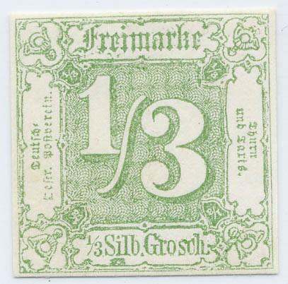 Thurn & Taxis MiNr. 27 ** 1/3 Gr., dunkelgelblichgrün, geschnitten