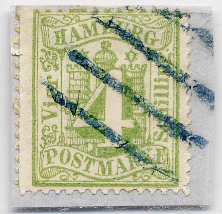 Hamburg MiNr. 16a o 4 Schilling / gelbgrün / gezähnt