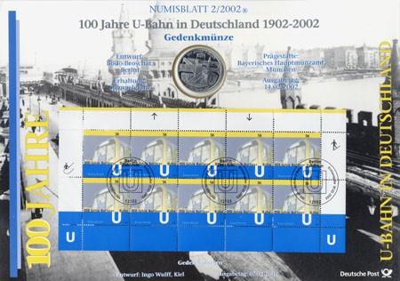 BRD Numisblatt 2/2002 100 Jahre U-Bahn in Deutschland