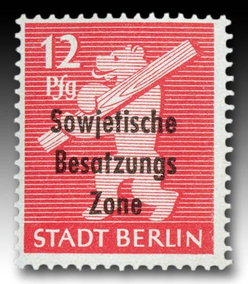 SBZ Allg.A. MiNr. 204 uy ** gep. 12 Pf. Bärenserie mit Bdr.-aufdr.