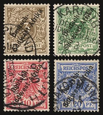 """Dt. Kolonien Südwestafrika MiNr. 1/4 o FM: """"Krone/Adler"""""""