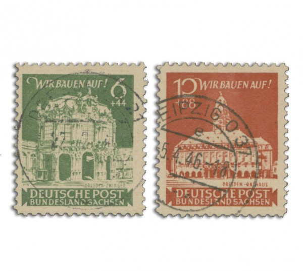 SBZ Ost-Sa. MiNr. 64/65 o Wiederaufbau der Stadt Dresden